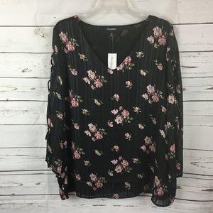 Rozali Floral Print V-Neck Blouse, Size 1X